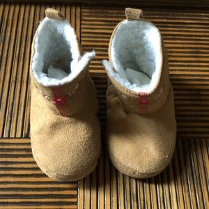 Other - Baby mini booties tan with floral print 6-12 mos
